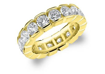 DIAMOND ETERNITY BAND WEDDING RING ROUND 14KT YELLOW GOLD 5.00 CARAT BOX SETTING