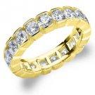 DIAMOND ETERNITY BAND WEDDING RING ROUND 14KT YELLOW GOLD 3.00 CARAT BOX SETTING