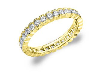 DIAMOND ETERNITY BAND WEDDING RING ROUND 14KT YELLOW GOLD 1.00 CARAT BOX SETTING