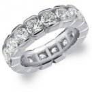 DIAMOND ETERNITY BAND WEDDING RING ROUND 14KT WHITE GOLD 5.00 CARAT BOX SETTING