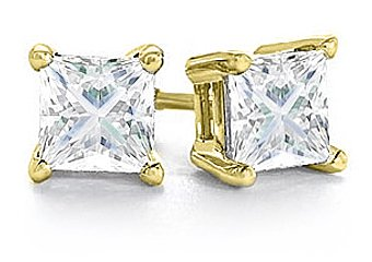 1/4 CARAT PRINCESS SQUARE CUT DIAMOND STUD EARRINGS YELLOW GOLD SI2-3 H-I