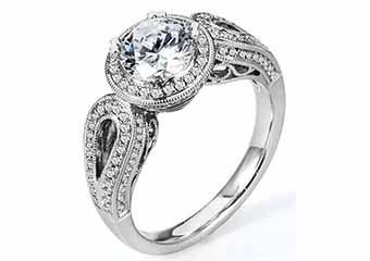 WOMENS DIAMOND ENGAGEMENT HALO RING ROUND CUT 1.48 CARAT 18K WHITE GOLD
