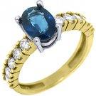 WOMENS BLUE SAPPHIRE DIAMOND ENGAGEMENT RING 2.14 CARAT OVAL SHAPE YELLOW GOLD