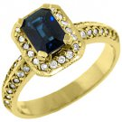 WOMENS BLUE SAPPHIRE DIAMOND ENGAGEMENT HALO RING EMERALD ROUND CUT YELLOW GOLD
