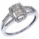 1/3CT WOMENS DIAMOND ENGAGEMENT WEDDING HALO RING PRINCESS CUT WHITE GOLD
