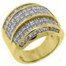 5 CARAT WOMENS PRINCESS CUT INVISIBLE DIAMOND RING WEDDING BAND YELLOW GOLD