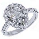 1.37 CARAT WOMENS ANTIQUE PEAR SHAPE DIAMOND HALO ENGAGEMENT RING 14K WHITE GOLD