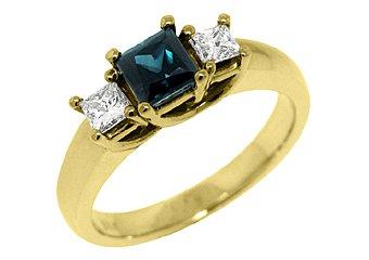 WOMENS BLUE SAPPHIRE DIAMOND ENGAGEMENT RING 3 STONE PRINCESS CUT YELLOW GOLD