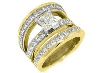 6 CARAT WOMENS DIAMOND ENGAGEMENT WEDDING RING PRINCESS SQUARE CUT YELLOW GOLD