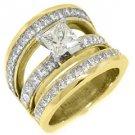 6 CARAT WOMENS DIAMOND ENGAGEMENT WEDDING RING PRINCESS SQUARE CUT YELLOW GOLD