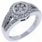 .69 CARAT WOMENS ANTIQUE ROUND CUT DIAMOND HALO ENGAGEMENT RING 14K WHITE GOLD