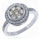1.18 CARAT WOMENS ANTIQUE ROUND CUT DIAMOND ENGAGEMENT HALO RING 14K WHITE GOLD