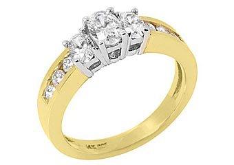 1.4 CARAT OVAL 3-STONE PAST PRESENT FUTURE DIAMOND RING TWO-TONE YELLOW GOLD