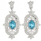 2.24 CARAT BLUE TOPAZ DIAMOND DANGLE EARRINGS STERLING SILVER DECEMBER STONE