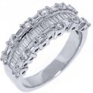 1.25CT WOMENS BRILLIANT ROUND BAGUETTE CUT DIAMOND RING WEDDING BAND WHITE GOLD