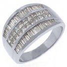 2.5CT WOMENS PRINCESS BAGUETTE INVISIBLE DIAMOND RING WEDDING BAND WHITE GOLD