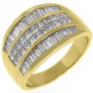 2.5CT WOMENS PRINCESS BAGUETTE INVISIBLE DIAMOND RING WEDDING BAND YELLOW GOLD