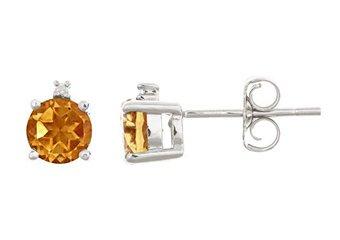 .93 CARAT CITRINE & DIAMOND EARRINGS 5mm ROUND CUT NOVEMBER BIRTH STONE
