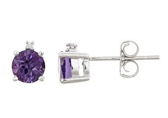 .93 CARAT AMETHYST & DIAMOND EARRINGS BRILLIANT ROUND FEBRUARY BIRTH STONE