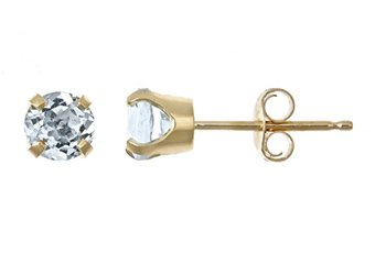 .46 CARAT AQUAMARINE STUD EARRINGS 4mm ROUND 14KT YELLOW GOLD MARCH BIRTH STONE
