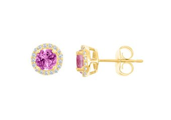 PINK SAPPHIRE & ROUND DIAMOND STUD HALO EARRINGS 6mm 14KT YELLOW GOLD