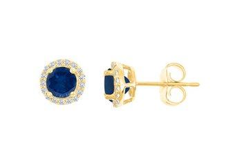 BLUE SAPPHIRE & ROUND DIAMOND STUD HALO EARRINGS 6mm 14KT YELLOW GOLD