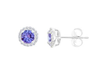 TANZANITE & ROUND DIAMOND STUD HALO EARRINGS 6mm 14KT WHITE GOLD