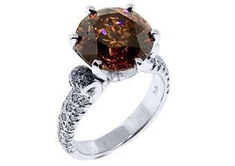 WOMENS 7.08 CARAT BROWN CHAMPAGNE DIAMOND ENGAGEMENT RING ROUND SHAPE