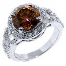 WOMENS 4.5 CARAT BROWN CHAMPAGNE DIAMOND ENGAGEMENT RING ROUND SHAPE