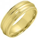 MENS WEDDING BAND ENGAGEMENT RING YELLOW GOLD SATIN & HIGH GLOSS FINISH 6mm