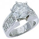 5 CARAT WOMENS DIAMOND ENGAGEMENT RING ROUND PRINCESS BAGUETTE CUT WHITE GOLD