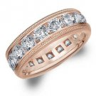 DIAMOND ETERNITY BAND WEDDING RING ROUND 14KT ROSE GOLD 5.00 CARAT MILGRAIN