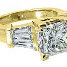 4 CARAT WOMENS DIAMOND ENGAGEMENT RING PRINCESS BAGUETTE CUT YELLOW GOLD SI2-3/I