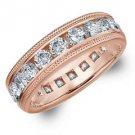 DIAMOND ETERNITY BAND WEDDING RING ROUND 14KT ROSE GOLD 3.00 CARAT MILGRAIN