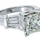 4 CARAT WOMENS DIAMOND ENGAGEMENT RING PRINCESS BAGUETTE CUT WHITE GOLD SI2-3/I