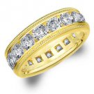 DIAMOND ETERNITY BAND WEDDING RING ROUND 14KT YELLOW GOLD 5.00 CARAT MILGRAIN