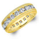 DIAMOND ETERNITY BAND WEDDING RING ROUND 14KT YELLOW GOLD 3.00 CARAT MILGRAIN