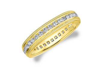 DIAMOND ETERNITY BAND WEDDING RING ROUND 14KT YELLOW GOLD .50 CARAT MILGRAIN