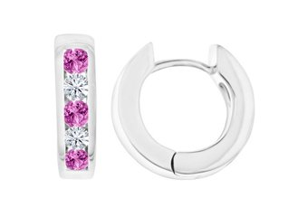 PINK SAPPHIRE & DIAMOND HOOP EARRINGS BRILLIANT ROUND CUT 14KT WHITE GOLD