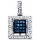 .21 Carat Blue Diamond Pendant Square Brilliant Round Cut Micro Pave White Gold