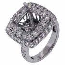 2.49 CARAT WOMENS DIAMOND HALO ENGAGEMENT RING SEMI-MOUNT ROUND CUT WHITE GOLD