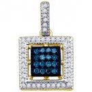 .21 Carat Blue Diamond Pendant Square Brilliant Round Cut Micro Pave Yellow Gold