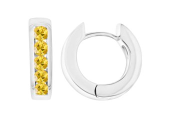 YELLOW SAPPHIRE HOOP EARRINGS BRILLIANT ROUND CUT 14KT WHITE GOLD