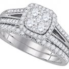 WOMENS DIAMOND ENGAGEMENT HALO RING WEDDING BAND BRIDAL SET CUSHION SHAPE