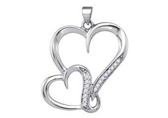 1/10 Carat Diamond Heart Shape Pendant Brilliant Round Diamonds Sterling Silver