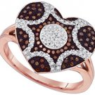 WOMENS .33 CARAT HEART SHAPE RED DIAMOND ENGAGEMENT RING ROSE GOLD