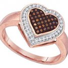 WOMENS HEART SHAPE RED DIAMOND ENGAGEMENT PROMISE HALO RING ROSE GOLD