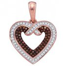 .25 Carat Red & White Diamond Heart Pendant Round Cut Rose Gold
