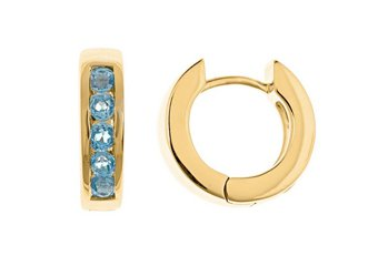 BLUE TOPAZ HOOP EARRINGS BRILLIANT ROUND CUT 14KT YELLOW GOLD