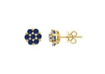 1.26 CARAT BLUE SAPPHIRE FLOWER SHAPE STUD EARRINGS 8mm YELLOW GOLD